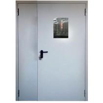 Противопожарная металлическая дверь EI 60 двупольная ДПМ-02/60 с остеклением
