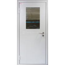 Противопожарная дверь однополая со стеклопакетом